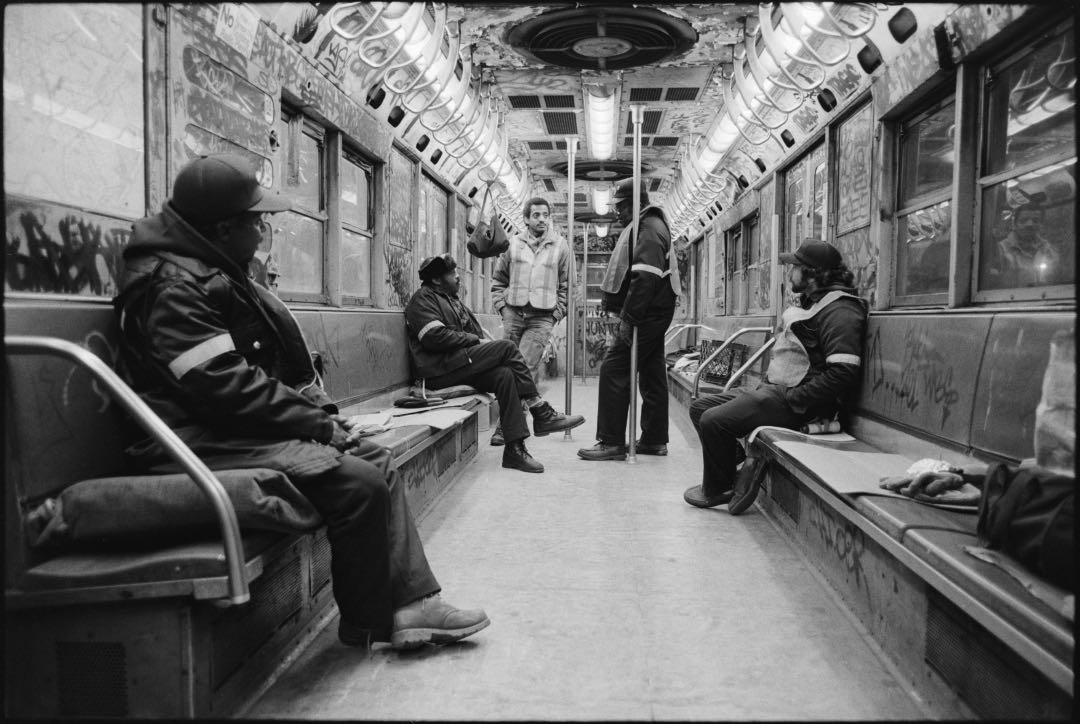 Subway car and workers